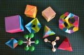 origami, geometria, metà, ciència
