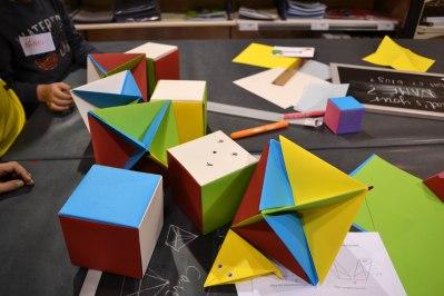 sòlids platònics, octaedres, cubs, colors, , taller, Badalona